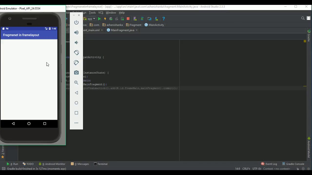 How to add a Fragment in FrameLayout Android - YouTube