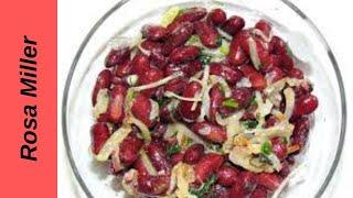 Горячий салат с фасолью и грибами.Кушаем горячим и холодным. Очень вкусно и много белка.