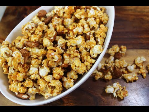 How To Make Caramel Popcorn With Almonds! Snack You Can't Resist.