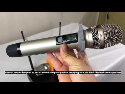 IDOLmain UHF-628 Auto Sound Cut Off When Dropping Dual Wireless Microphone System