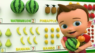 Learn Numbers and Fruits for Children with Little Baby Fun Play Learning Fruits Numbers Toy Set 3D