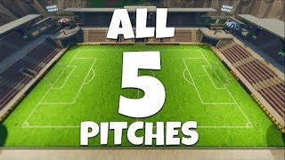 "ALL SOCCER PITCHES IN FORTNITE! ""Score A Goal On Different Pitches"" Challenge! Soccer Field Location"