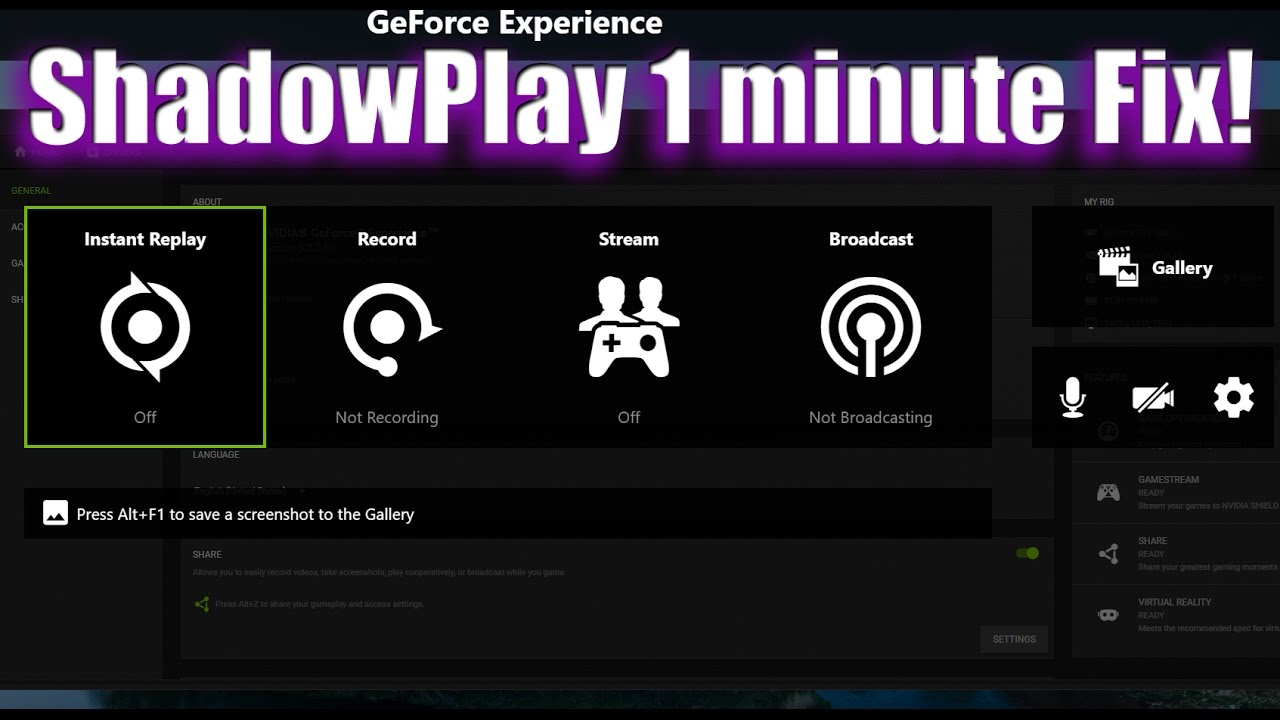 Nvidia Geoforce Experience - ShadowPlay not working, starting then  stopping? - 1 minute fix