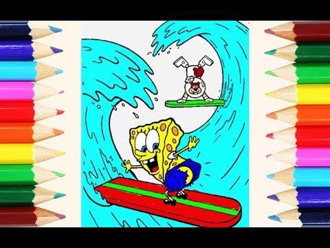 Cara Mewarnai Spongebob Squarepants Berselancar Bersama Sandy How To Coloring Pages And Drawing