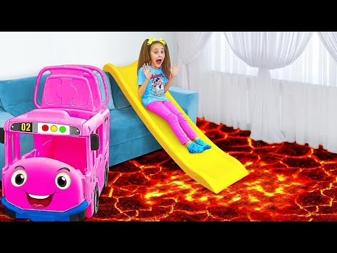 The Floor is Lava Challenge - Dad saves Sasha and Max from Lava!