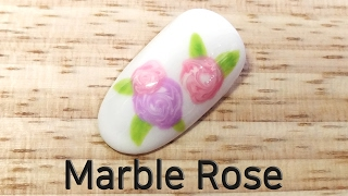 Marble Rose Nail Art (Marble Flower)
