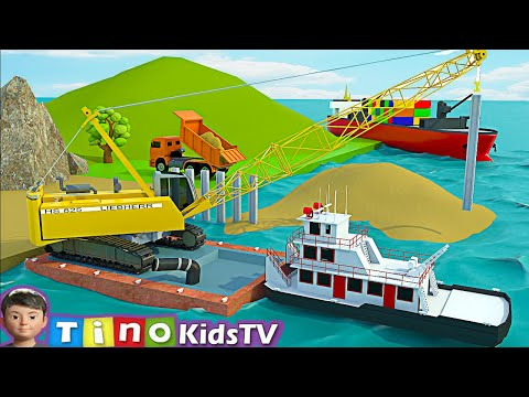 Dump Trucks and Crawler Crane Truck for Kids | Sea Port Harbor Construction