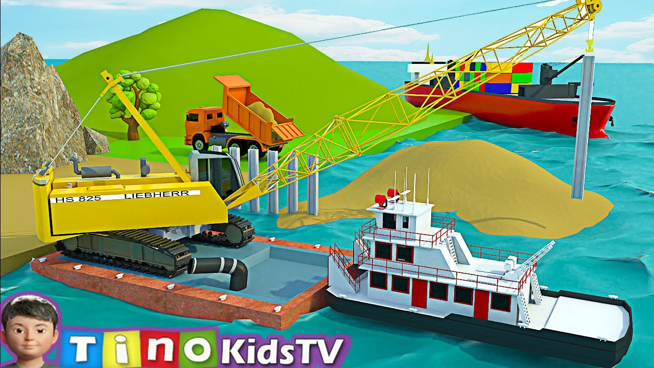 Dump Trucks  and Crawler Crane Truck for Kids   Sea Port Harbor Construction