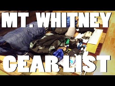 2016 Mt Whitney Kit - Gear List