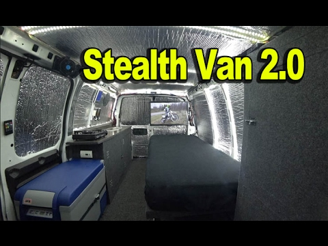 Tiny House: Cargo Van to Camper Van 2.0  - Carries Motorcycle Inside!