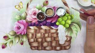 Aprenda a Pintar Cesta de Uvas em Tecido