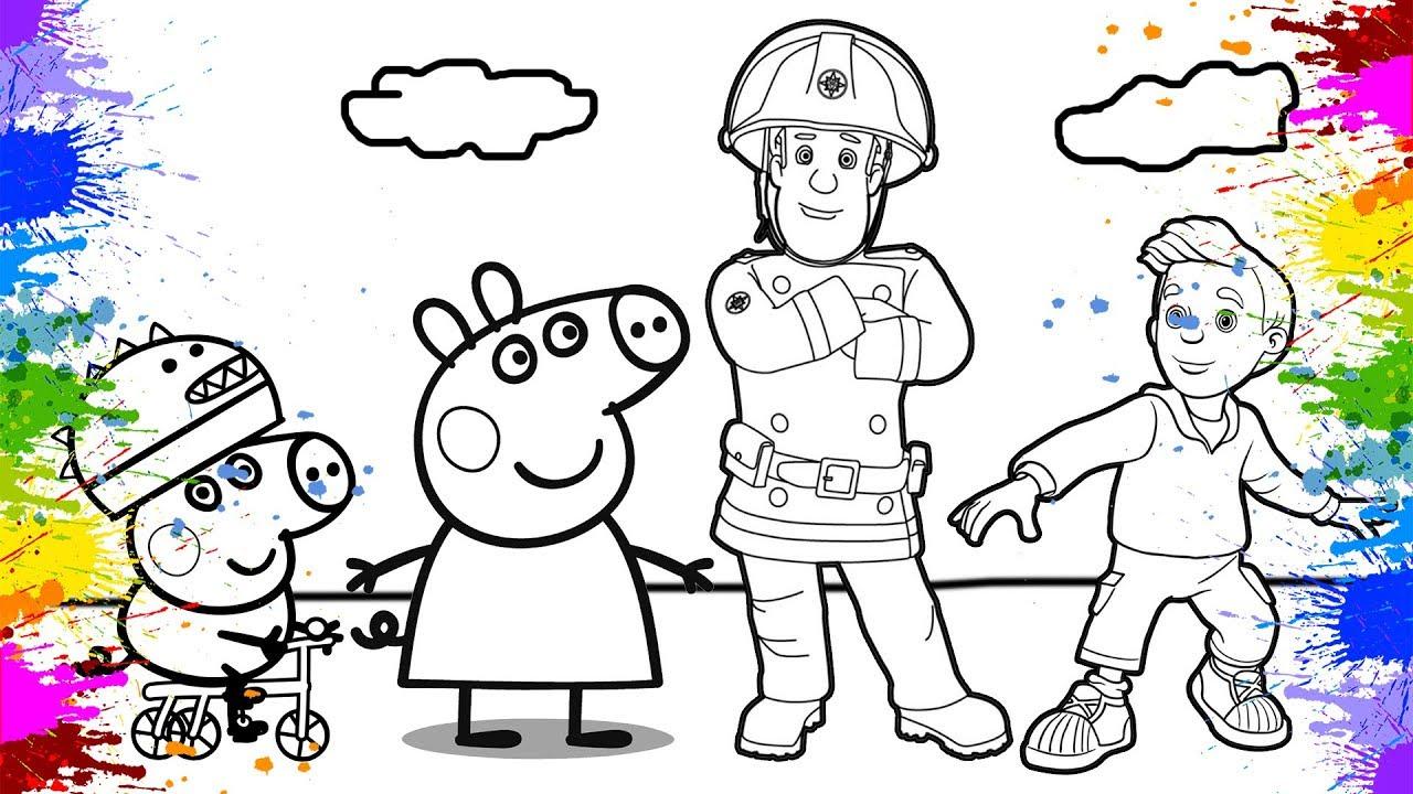 Peppa Wutz Deutsch Peppa Pig Und Feuerwehrmann Sam Künstlerische Farben Für Kinder