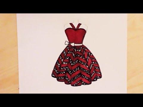 رسم فستان سهل جدا فستان أحمر للسهرة تصميم الأزياء للمبتدئين How