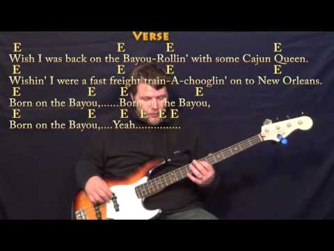 Born on the Bayou (CCR) Bass Guitar Cover Lesson with Lyrics/Chords