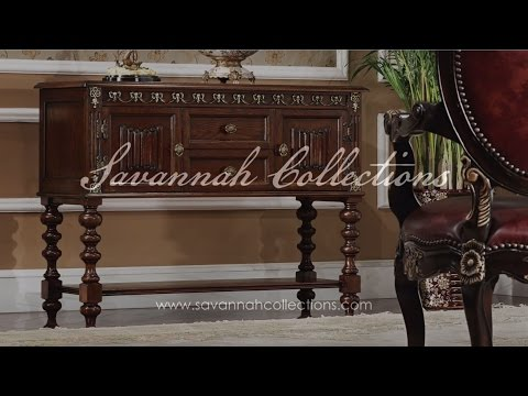 Italian Furniture Console Table in Antique Cocoa by Savannah Collections - Hickory White