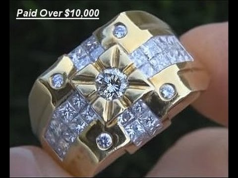 $14,995 Men's Diamond & 18kt Gold Ring - Top Quality VS/F Diamonds - Size 10