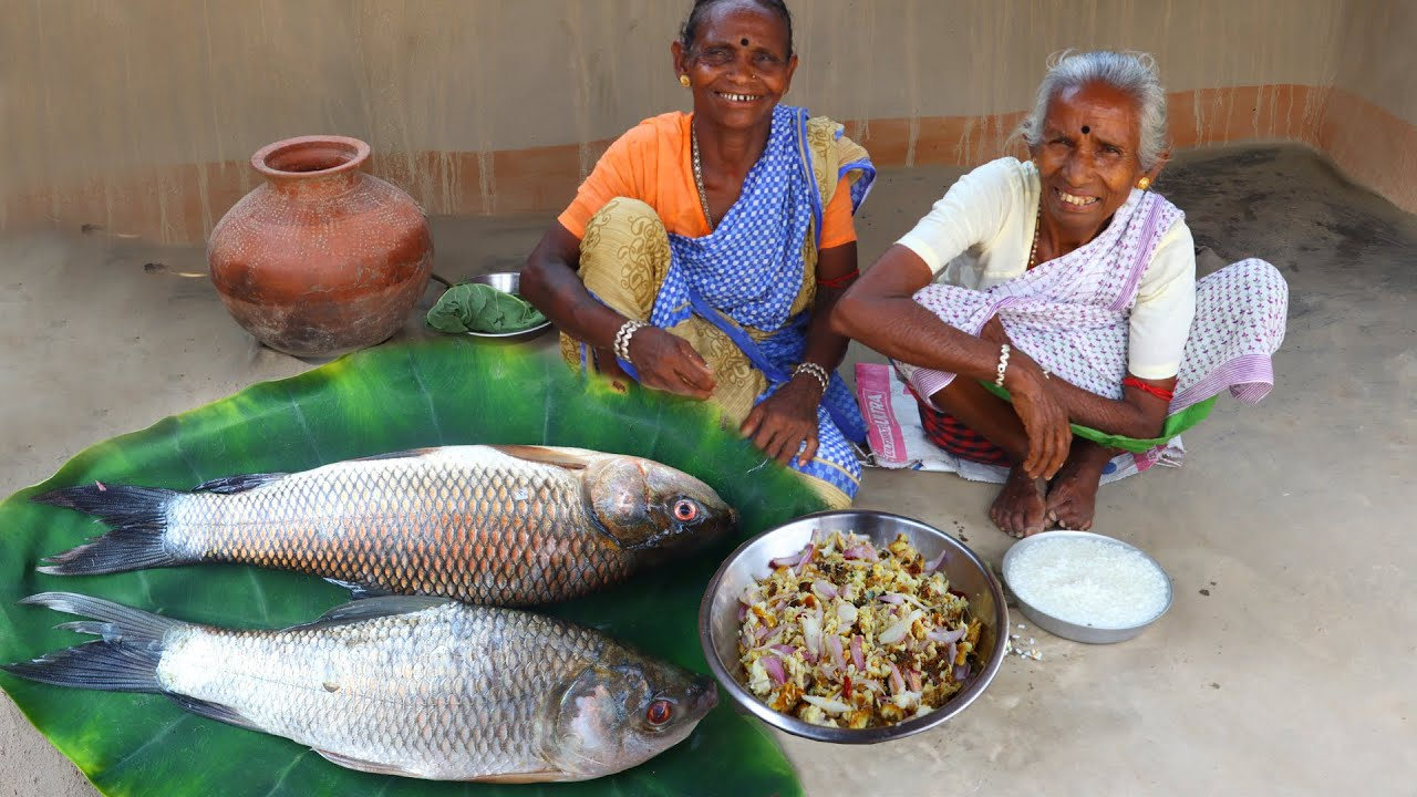 Rohu fish fry cooking and eating with panta vat   Tribal village food recipes by tribe grandmothers