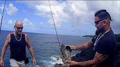 pêche à Sainte Rose entre dalons, île de la Réunion 974
