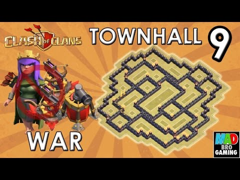 TH9 WAR Base (No XBows No Archer Queen) with 2 AIR SWEEPERS - Clash of Clans 2015