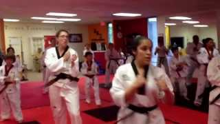 Grand Master Min Suk Song teaches basic kicking drill.