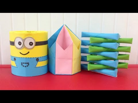 Top 3 paper pencil holders super easy to make | Easy origami for beginners making | DIY-Paper Crafts