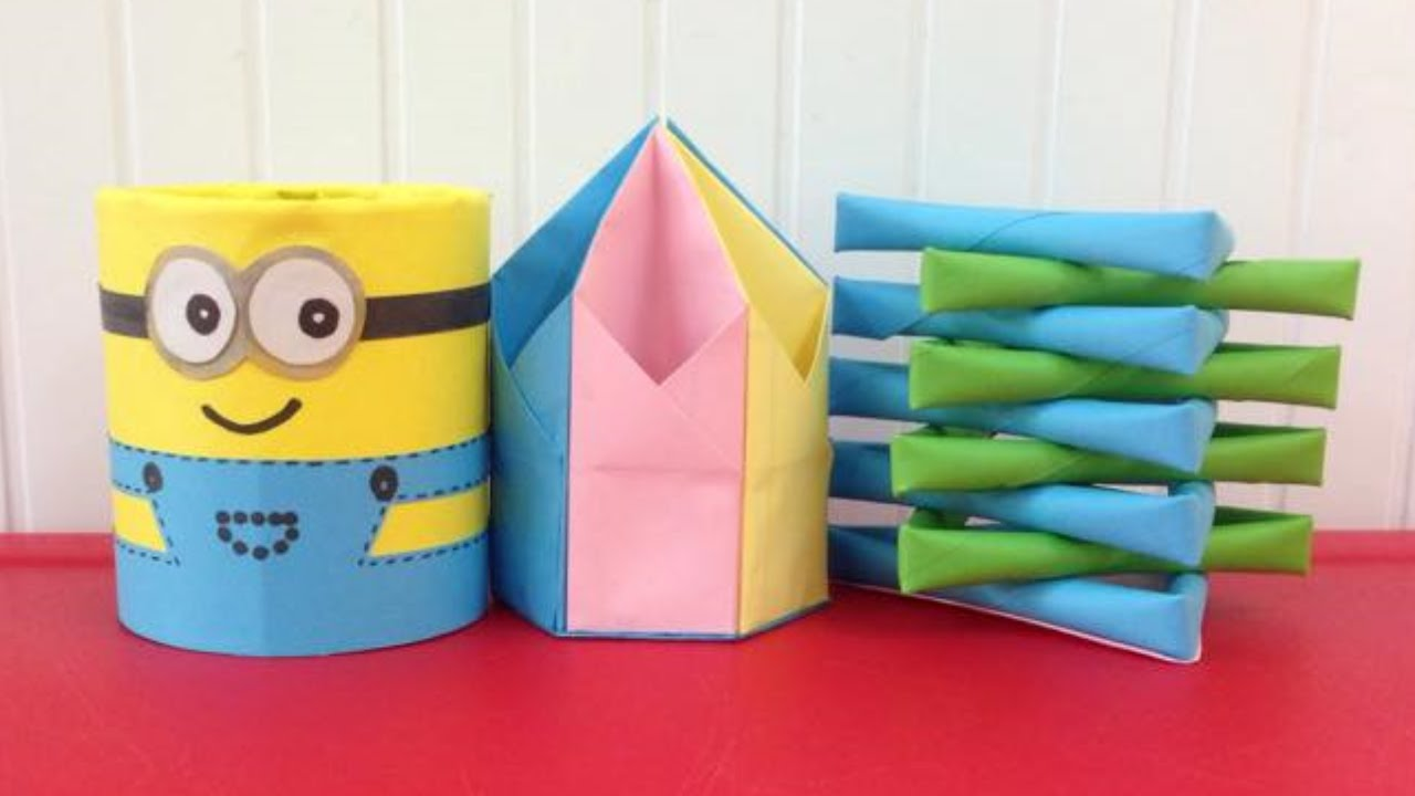 Homemade Pencil Holders Top 3 Paper Pencil Holders Super Easy To Make Easy Origami For Beginners Making Diy Paper Crafts