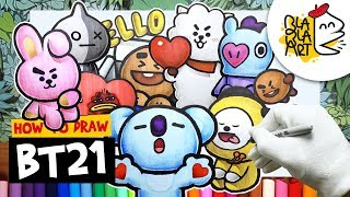 HOW TO DRAW BT21 CHARACTERS 3/3 | Best BT21 Members Easy Drawing | BTS and LINE FRIENDS | BLABLA ART