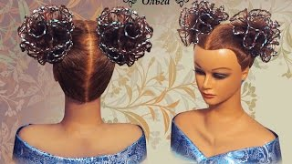 Прическа на длинные волосы, на средние волосы Ажурный бант из волос hair bow Frisur Bogen Kapralova(Подписывайтесь на мой канал и получайте уведомления о моих новых видео уроках! http://www.youtube.com/channel/UCdWRM-FJOzpHjswy196..., 2015-10-09T00:22:41.000Z)