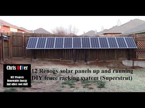 12 Renogy Solar Panels Now On Fence Racking System 1 2kw