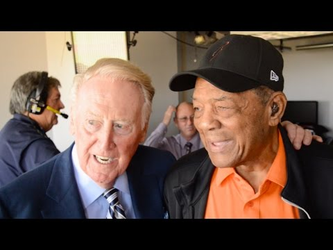 Vin Scully Meets Hall of Famer Willie Mays at AT&T Park