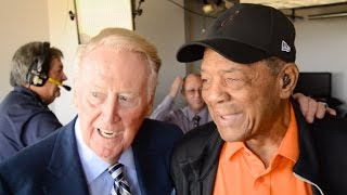 Vin Scully Meets Hall of Famer Willie Mays at AT\u0026T Park