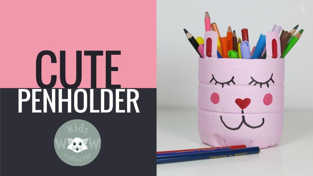 DIY Back2School Idea   Super Cute Pink Cat PET Bottle Pen Holders