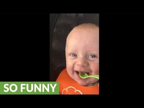 Baby's hilarious reaction to first time trying peas