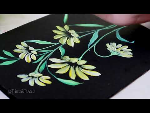 How To Make Easy Beautiful Floral Painting Design On Fabric Fabric Painting Designs Youtube