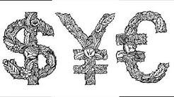 Euro symbol. Dollar symbol. Yen symbol. Sketch.
