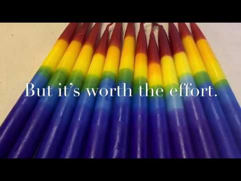 VIDEO: See how we make our rainbow dip candles!