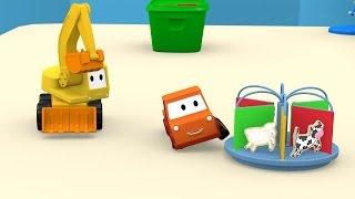 Spielzeugbagger Aha spielt mit den Tieren.