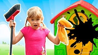 Alena plays with goldfish and clean the playhouses for children
