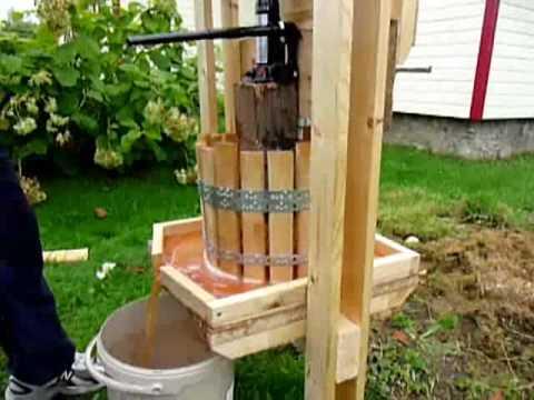 Apple grinder juice press youtube for Home wine press