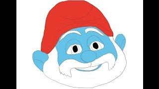 The Smurfs Grandpa Hoe to draw easy? Дедушка Смурф Как нарисовать просто?