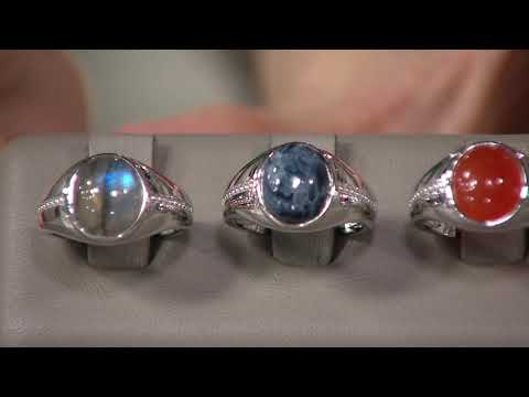 Oval Opaque Gemstone Cabochon Ring, Sterling Silver on QVC