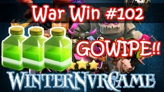 Clash of Clans   GOWIPE With 3 Jumps!!   Maxed Th9 3 Stars   Win #102