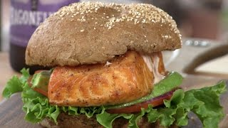 Cedar Planked Salmon Sandwich On The Weber!
