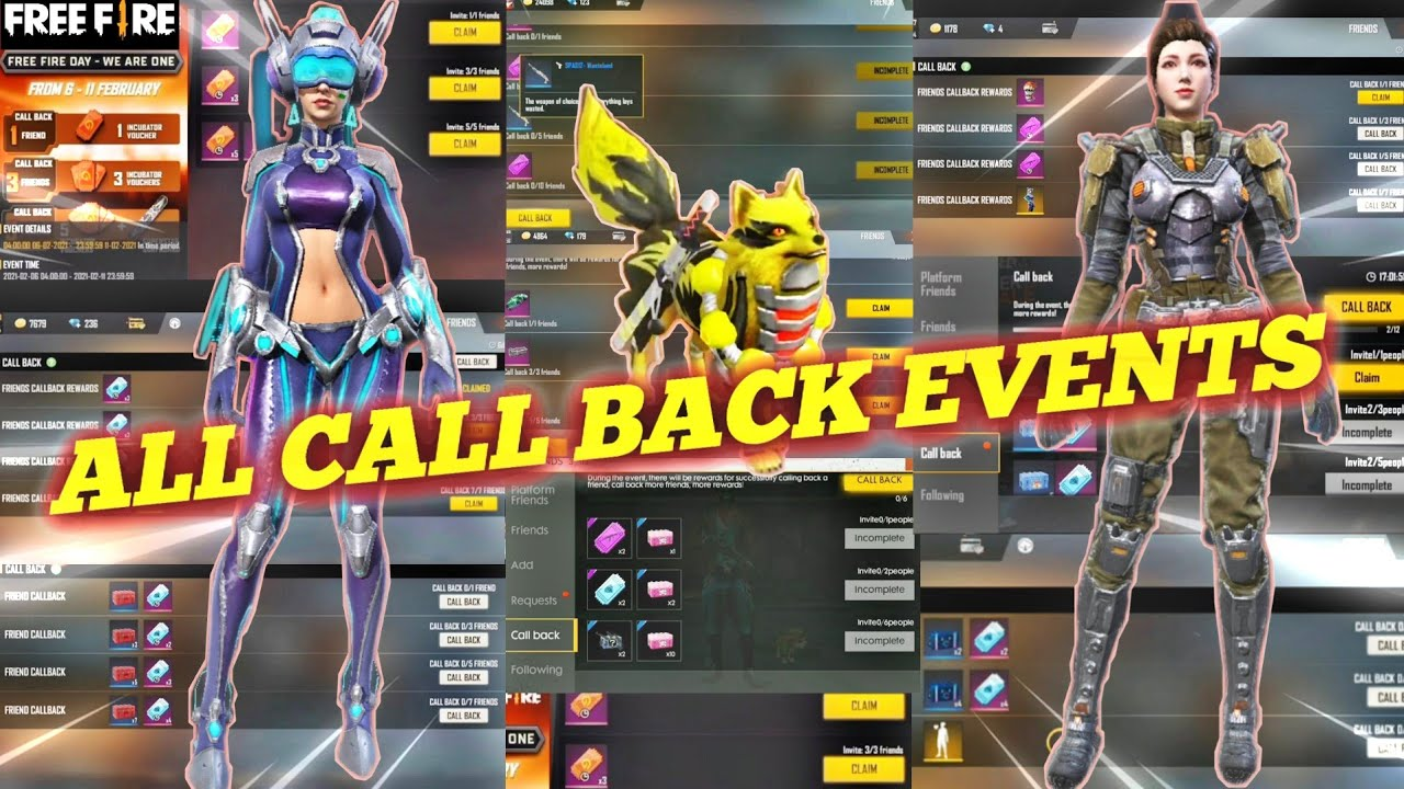 ALL CALL BACK EVENTS FREE FIRE | CALL BACK REWARDS FREE FIRE || FREE FIRE ALL CALL BACK EVENTS | TSK