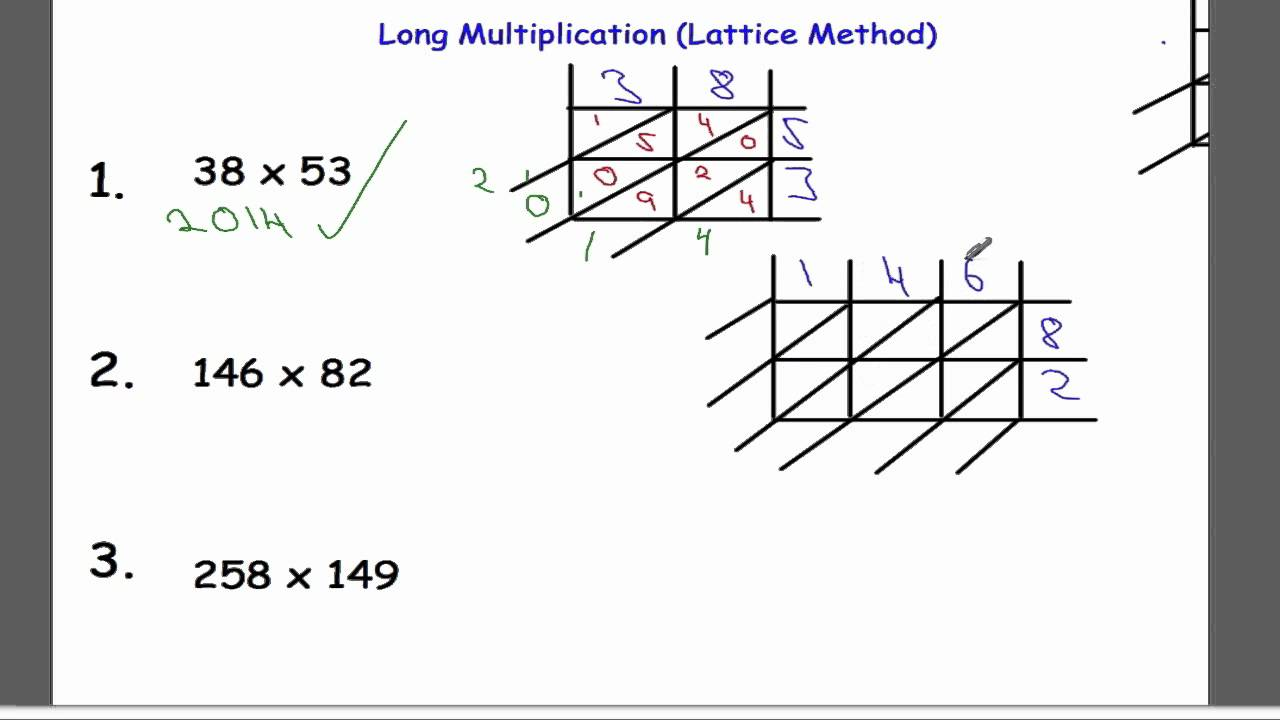 Worksheet Long Mulitplication long multiplication lattice method youtube method