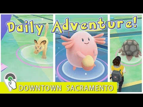 Wild Chansey, Persian and Golem in Downtown Sacramento! DAILY POKEMON GO ADVENTURE!