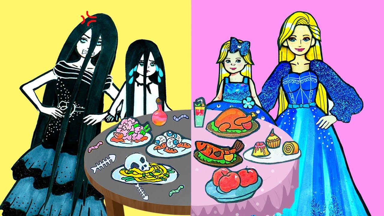 Paper Dolls Dress Up ~ Costumes Beautiful Family Rapunzel and Sadako ~ Dolls Beauty