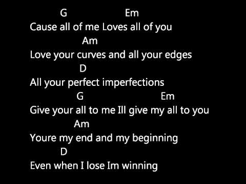 JOHN LEGEND - ALL OF ME (LYRICS AND CHORDS) - YouTube