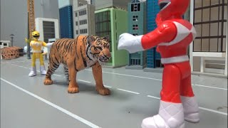 파워레인저 마이티몰핀! 호랑이와 치열한 대결! Power Rangers Mighty Morphin! Fierce confrontation with the tiger!