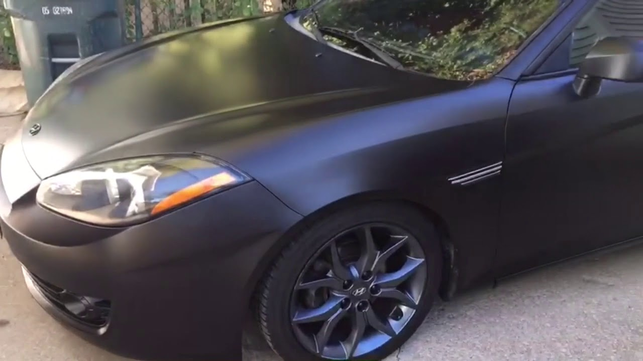 Satin Black Plasti Dip Walk Around Hyundai Tiburon